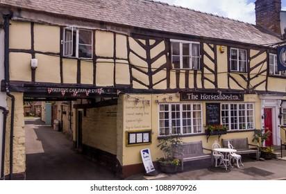 Shipston-on-Stour, UK - JUNE 8, 2015: The Horseshoe Inn hotel in vintage English style building on Church Street