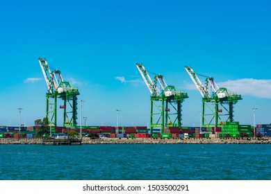 Ship-to-shore gantry cranes at berth of Ben E. Nutter Terminal servicing Evergreen Marine Corporation  and STS shipping containers - Oakland, California, USA - Circa, 2019