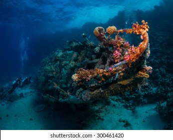 Shipwreck among coral reefs. Southern Red Sea.