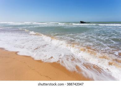 Shipwreck in the Atlantic ocean, in Western Sahara