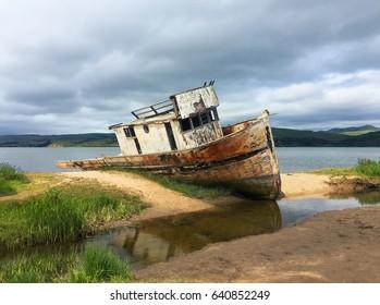 Shipwreck in the bay in California