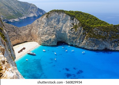 Shipwreck bay with turquoise water and pebble white beach on Zakynthos island, Greece