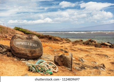 Shipwreck beach in Lanai island, Hawaii. Tourist attraction.