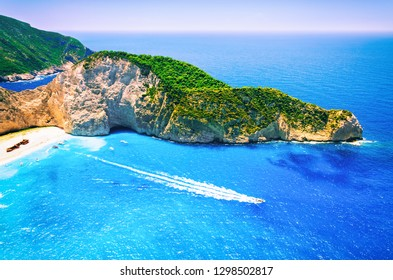 Shipwreck beach at Navagio bay. Zakynthos island, Greece. The most famous and fotographed beach in the world