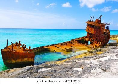 Shipwreck in Bimini, Bahamas.