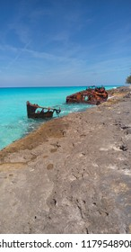 A shipwreck by the rocks off the coast of Bimini, The Bahamas