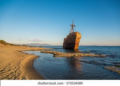 Shipwreck Dimitrios on the beach of Githio, Pelopponese, Greece.