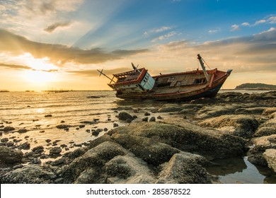 Shipwreck of fish boat in thailand.