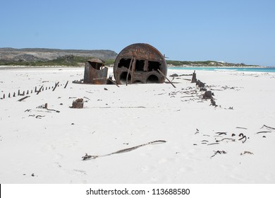 Shipwreck Kakapo at the beach of kommetjie with blue sky
