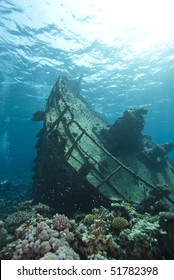 Shipwreck of the Kormoran with the bow and upper deck clearly visible. Sharm el Sheikh, Red Sea, Egypt.