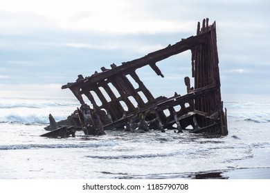 Shipwreck on the Astoria Oregon coast.