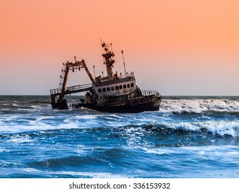 Shipwreck on Skeleton Coast of Atlantic Ocean in Namibia
