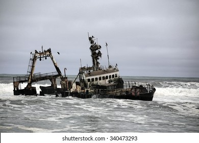Shipwreck on the skeleton coast, Namibia.