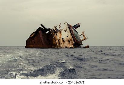 Shipwreck, rusty ship wreck