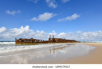 shipwreck ss maheno at the 70 Mile beach of Fraser Island