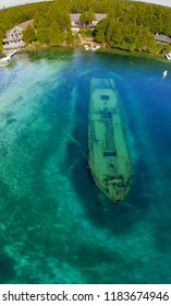 Shipwreck at Tobermory, aerial view, Ontario, Canada