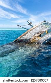 Shipwreck in Vaavu Atoll near Keyohoo Island, Maldives