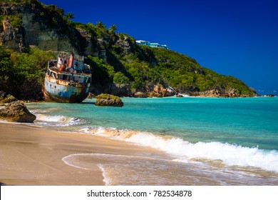 Shipwrecks lay in ruins on the shores of Sandy Ground Beach, on the island of Anguilla in the Caribbean. (3415)