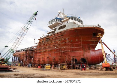 Shipyard industry ,( ship building) Big ship on floating dry dock in shipyard. located at Port Klang , Malaysia