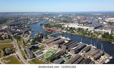 Gdańsk shipyard and sea