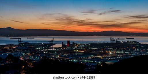 The shipyards of the Bay Area illuminated at Sunrise