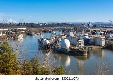 Shipyards drydock repairs and the Portland Skyline Oregon.
