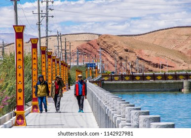 SHIQUANHE, ALI, TIBET/ CHINA- Aug 2017: Peoples at Indus river valley in West Tibet mountain region. Shiquanhe (Ali) the bigest town in Ngari provence of Tibet.