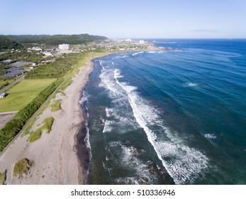 Shirahama shore Minamiboso, Chiba, Japan aerial view