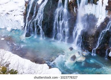 Shirahige waterfall in winter in Biei,Hokkaido,Japan