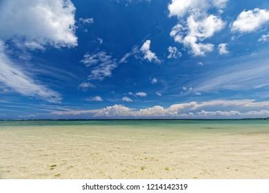 Shiraho Beach in Ishigaki island, tropical resort, Japan. Beautiful beach without any people