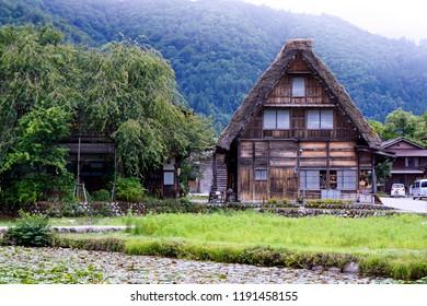 Shirakawa - Go /Japan - August 21 2018:  Historic Villages of Shirakawa-g? and Gokayama are one of Japan's UNESCO World Heritage Sites.