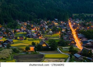 Shirakawago in the evening time, Japan