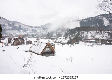Shirakawa-go January 17, 2018 - Winter : Traditional gassho-zukuri house in Shirakawa-go. Shirakawa-go is one of Japan's UNESCO World Heritage Sites located in Gifu Prefecture, Japan.