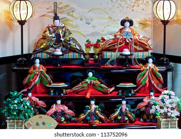 SHIRAKAWAGO, JAPAN - MARCH 27: Hinamatsuri in Shirakawago, Japan on March 27, 2012. A set of ornamental dolls are consisted of Emperor, Empress, attendants, and musicians in traditional court dress.