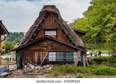Shirakawa-go, Japan - May 3, 2016: Traditional gassho-zukuri house in Shirakawa-go. Shirakawa-go is one of Japan's UNESCO World Heritage Sites located in Gifu Prefecture, Japan.