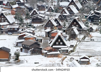 shirakawa-go in Japan in the winter season japanese village Shirakawago located in Gifu Prefecture. Traditional village Japan's UNESCO World Heritage