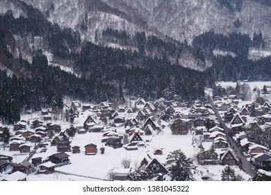 Shirakawago Japan-16 December 2017 : Scenery of historic village of Shirakawago with Gassho Houses in winter from view point