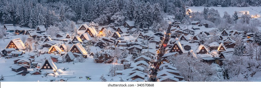 Shirakawago light-up with Snowfall Gifu Chubu Japan Panorama