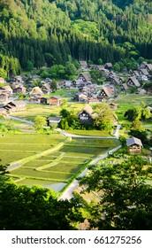 Shirakawa-go in the Spring Evening, UNESCO World Heritage Sites, Japan