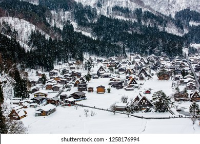 Shirakawa-go is village famous with snow in the winter for Gassho-zukuri (houses with steep thatched roofs) in Gifu prefecture, Japan