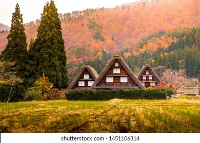 Shirakawago Village World Heritage in Autumn, Gifu, Japan