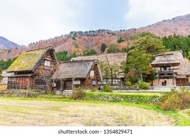 SHIRAKAWAGO,JAPAN-NOVEMBER 16,2018:  Shirakawago in the fall .It is a village with beautiful scenery reminiscent of the old days. The village has a Gassho-style house.