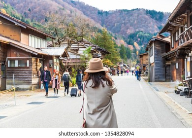 SHIRAKAWAGO,JAPAN-NOVEMBER 16,2018: Tourists walking around Shirakawago in the fall .It is a village with beautiful scenery reminiscent of the old days. The village has a Gassho-style house.