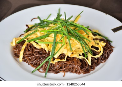 shirataki noodle. Healthy breakfast. Low carb. Noodles made from konnyaku. Japanese food.