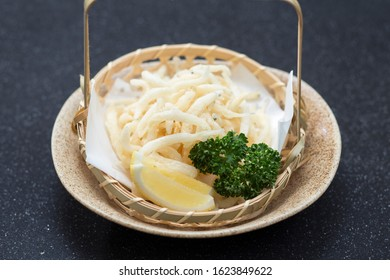 Shirauo Karaage fry white fish and chicken, Japanese snack food isolated
