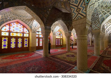 SHIRAZ - APRIL 15: interior of Nasir al-Mulk Mosque (Pink Mosque) in Shiraz, Iran on April 15, 2015. This mosque was built between 1876 and 1888, during the Qajar Dynasty in Shiraz, Iran.