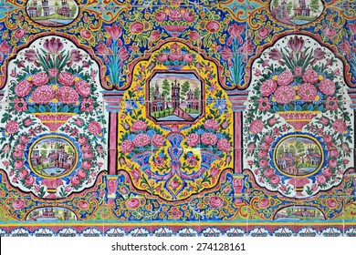 SHIRAZ - APRIL 15: oriental ornaments from Nasir al-Mulk Mosque in Shiraz, Iran on April 15, 2015. This mosque was built between 1876 and 1888, during the Qajar Dynasty in Shiraz, Iran.