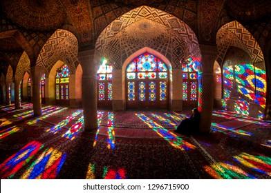 Shiraz / Iran - 01052018: Woman praying in the mosque in Iran