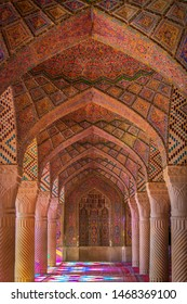 Shiraz, Iran, 11.15.2016: The interior of the pink mosque (The Nasir al-Mulk Mosque) in Shiraz, a beautiful gallery of arches