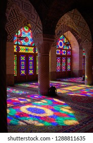 Shiraz/ Iran - 11/20/2018: Stained glass Mosque Nasir-ol-molk